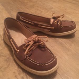 Tan Plaid accent Sperry Loafers 8
